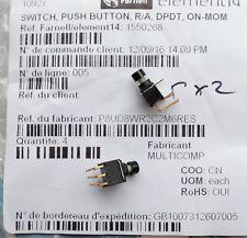 MULTICOMP P8UD8WR2C2M6RES Commutateur à bouton-poussoir On-(On), DPDT Qté 2