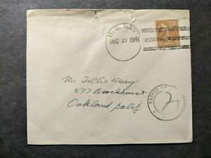 17 Dec 1941 Censored NAVAL Postal History Cover WWII Navy