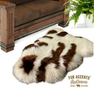 Faux Fur Icelandic Sheepskin, Spotted, Area Rug, Single Pelt, Suede Lining USA