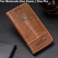 Leather Wallet Card Holder Case Flip Back Cover For Motorola One Zoom / One Pro