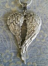 LARGE ANGEL WINGS PENDANT CHARM ON A 50CM SILVER PLATED NECKLACE