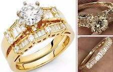 GOLD 14k ring band set Round engagement wedding 1 carat yellow 7 5 6 8 9 3.5g 2g