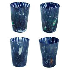 Murano Glass Drinking Glass Tumblers Set of Four 4 Blue Millefiori