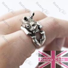 QUIRKY 4 leg RHINO antique silver fashion WRAP RING N/O/P rhinoceros CUTE ANIMAL