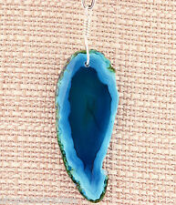 Blue Green Agate Gemstone Pendant Necklace SS Wire Wrap A67-9 FREE GIFT BOX