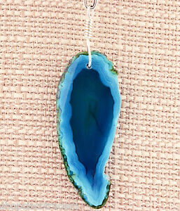 Unisex Blue Green Agate Gemstone Pendant Necklace Sterling Silver Wire Wrap