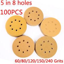 100PCS 5 Inch 8 Hole 80 Grit Dustless Hook-and-Loop Sanding Disc Sander Paper