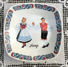"Figgjo Flint Norway 6"" x 6"" Dish Bowl Hardanger Folk Dancers Rosemaling Border"