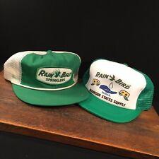 Vintage Hat Lot (2) Rain Bird Sprinklers Trucker Cap Adjustable Snapback Mesh