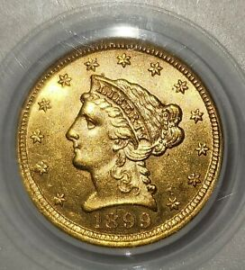 1899 $2 1/2 Lincoln Head Quarter Eagle PCGS MS61