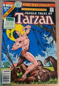 TARZAN ANNUAL #1 MARVEL COMICS 1977 UNSTAMPED CENTS COPY BAGGED/BOARDED FN+/VF-.