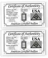 Pure Silver Bar 5 Grain Ingot Collectible Bullion Card COA Invest Gift Card Lot