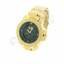 MENS ICED OUT HIP HOP BLING GOLD/BLACK ICE NATION METAL BAND WATCH