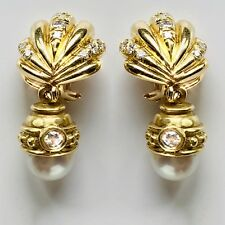 ca19c5009fbd 18k 14K Oro Amarillo Diamante Perla Desmontable Gota Día y Noche Concha  Earrings