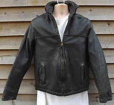 Timberland Black Leather Weathergear  Bomber Jacket - S - c2005