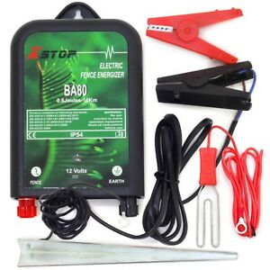 X-Stop Electric Fence Energiser 12v Battery Powered BA80 0.6J 10km Horse Fencing