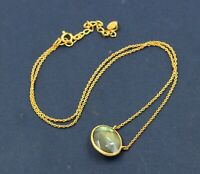 Labradorite Gemstone Gold Plated Party Wear Necklace 925 Sterling Silver Jewelry
