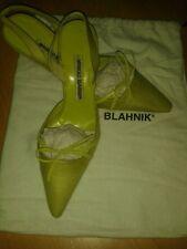Manolo Blanhik Pistachio Green Silk and Leather Slingbacks