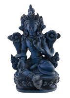 Statua Di Tara IN Resina Dea Tibetano-Blu Lapislazzuli 9.5cm 3139