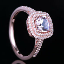 Sterling Silver Gemstone Morganite Wedding Unique Real Diamond Ring Fine Jewelry