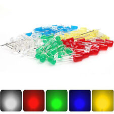 5 Values 100pcs F5 5mm Red Yellow Green Blue White Light LED Diode kits