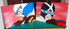 Pair of Unframed Speed Racer paintings created by licensed artist John Leaser.