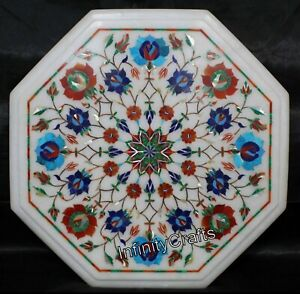 12 x 12 Inches Coffee Table Top Royal End Table Top Inlay with Heritage Art