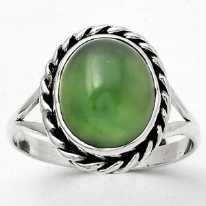 Natural Nephrite Jade - Canada 925 Sterling Silver Ring s.8 Jewelry E926