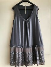 Cop.Copine Silver/Grey Satin Look cocktail  Dress New