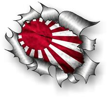 CLASSIC Ripped Open Torn Metal Rip & Japanese Rising Sun Flag drift car sticker