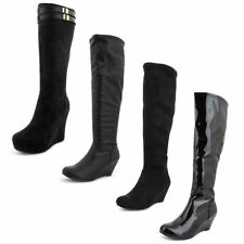 Synthetic Leather Zip Wedge Boots for Women