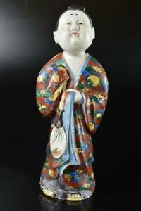 Q1168: XF Japan Old Kutani-ware Colored porcelain Gold paint Woman-shaped STATUE