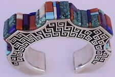 Sterling silver & Gem inlay Native American Navajo cuff bracelet Hank Whitethorn