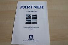 119804) Peugeot Partner Kastenwagen - Preise & Extras - Prospekt 03/1999