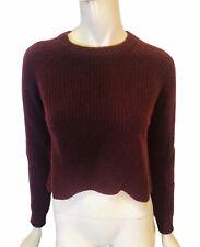 AUTUMN CASHMERE size xs plum crewneck cashmere crop sweater