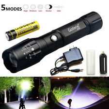 Zoom 15000LM 5 Modes T6 LED Focus Flashlight Torch 18650 Battery+Charger GA