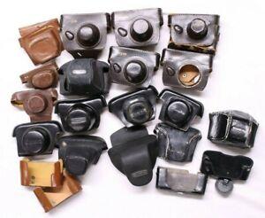 Lot of Original Leather Camera Cases Canon, Pentax, Minolta, Yashika, Argus...