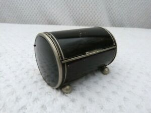 VINTAGE 1930s ART DECO PAINTED WHITE METAL TRINKET BOX.