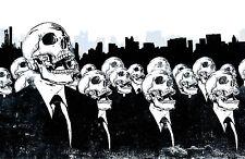 Enmarcado impresión Gótico esqueletos en Negro Trajes & Lazos mirando hacia el cielo