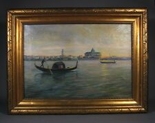 "Vintage Danish Oil Painting, ""Sunset in Venice with Gondola"", Signed E.C., 1919"