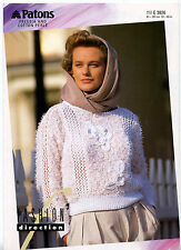 Ladies jumper pattern for knitting in freesia & perle yarn Patons patterns 3826
