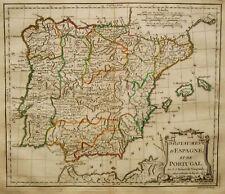 c.1780 Genuine Antique map Spain & Portugal. De Vaugondy