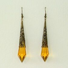 YELLOW GLASS VICTORIAN STYLE EARRINGS DARK GOLD PLATED FILIGREE Y