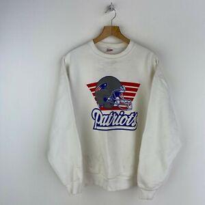 New England Patriots Vintage Sweatshirt Crewneck White Size XL NFL Football