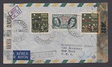 Brazil Sc C45, C57v, C59 on 1944 Censored Registered Air Mail Cover, Error.