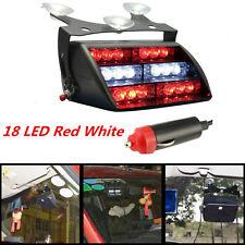 12V 18LED Car Emergency Warning Dash Windshield LED Strobe Flash Red White Lamp