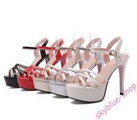 Womens Stiletto High Heels Ankle Platform Strap Slingback Clubwear Sandals Shoes