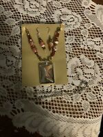 Hand Painted Orange Rectangle Pendant On Beaded Chain Silver Tone with Earrings