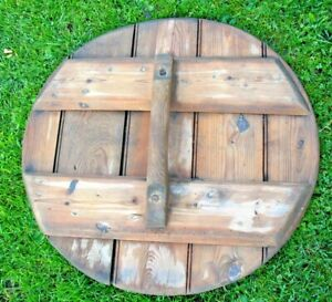 Old antique vintage wooden pine garden water butt / storage butt lid with handle