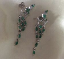 1.75 Ct, Zambian Emerald Earring, Dangle, Platinum Over Sterling Silver